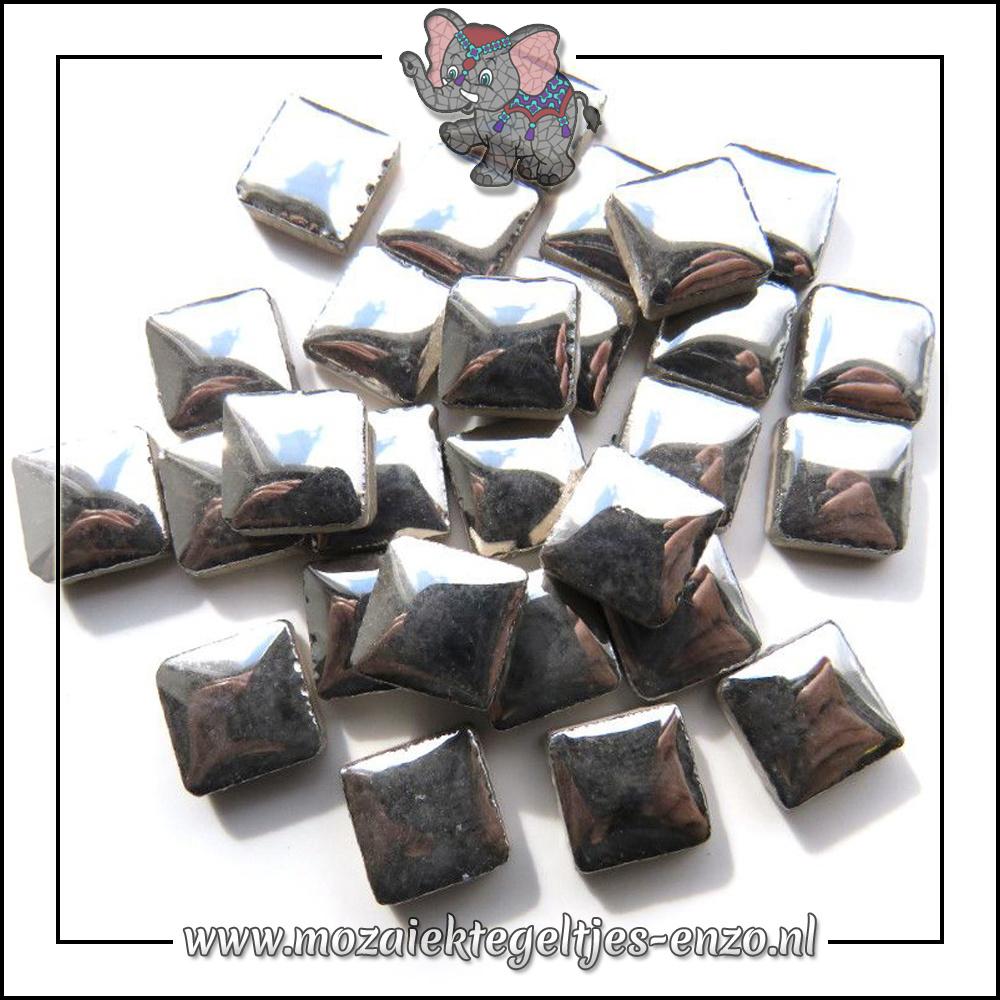 Geglazuurde Keramiek Stenen | 1cm | Enkele Kleuren | 60 stuks | Silver