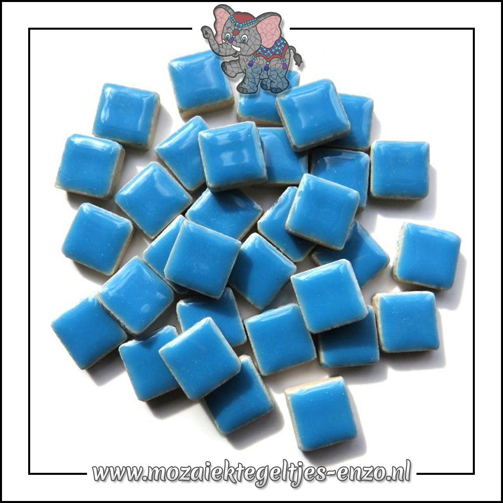 Geglazuurde Keramiek Stenen   1cm   Enkele Kleuren   60 stuks   Thalo Blue