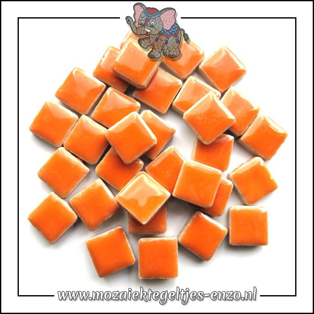 Geglazuurde Keramiek Stenen | 1cm | Enkele Kleuren | 60 stuks | Popsicle Orange