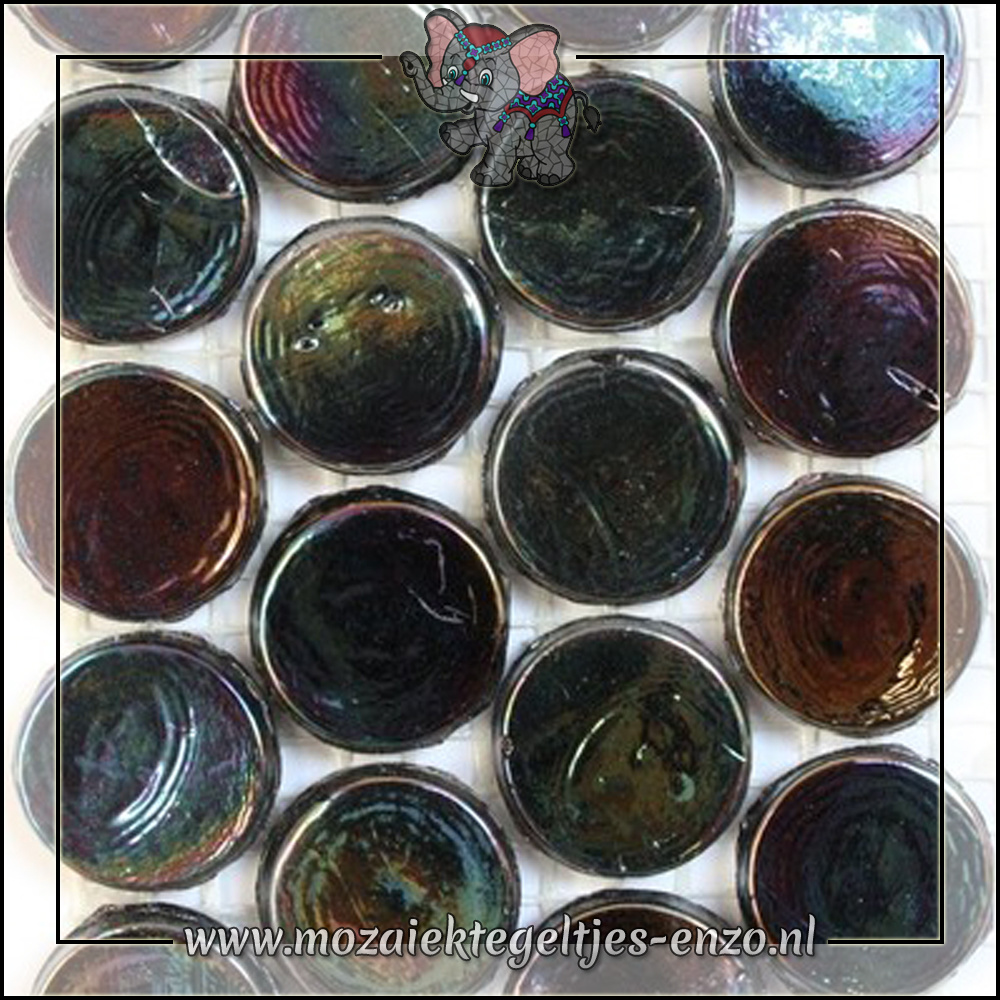 Radiant Round Parelmoer   18mm   Enkele Kleuren   1 stuks  Black Sea
