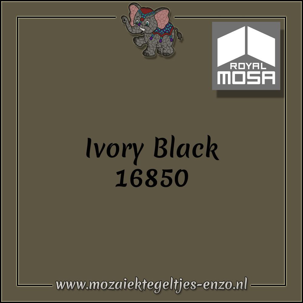 Royal Mosa Tegel Glanzend   7,5x15cm   Op maat gesneden   1 stuks  Ivory Black 16850