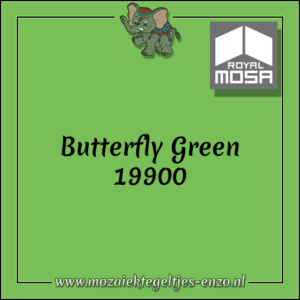 Royal Mosa Tegel Glanzend | 7,5x15cm | Op maat gesneden | 1 stuks |Butterfly Green 19900