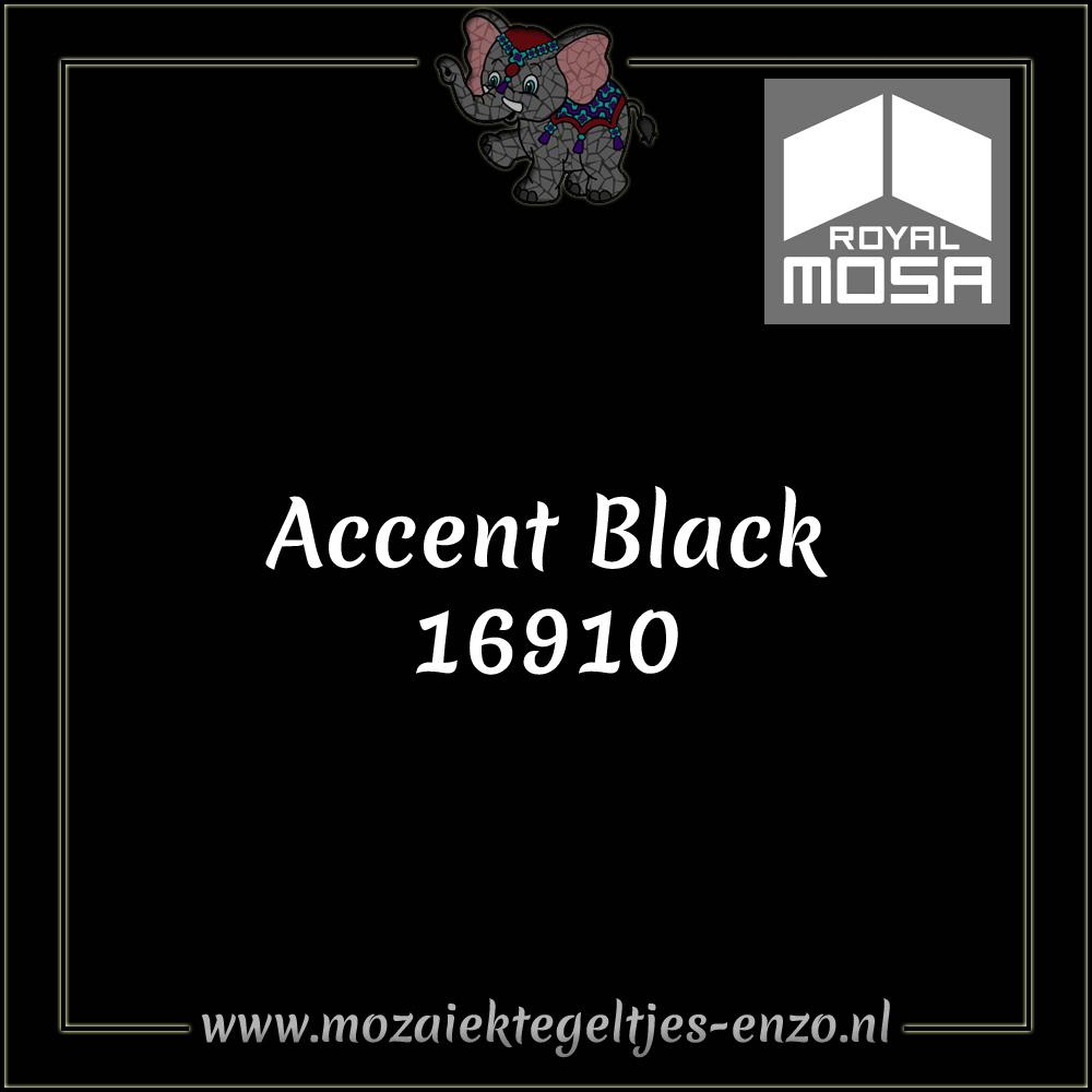 Royal Mosa Tegel Glanzend   7,5x15cm   Op maat gesneden   1 stuks  Accent Black 16910