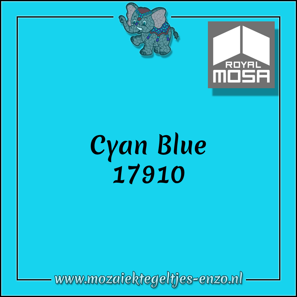 Royal Mosa Tegel Glanzend | 15cm | Op voorraad | 1 stuks | Cyan Blue 17910