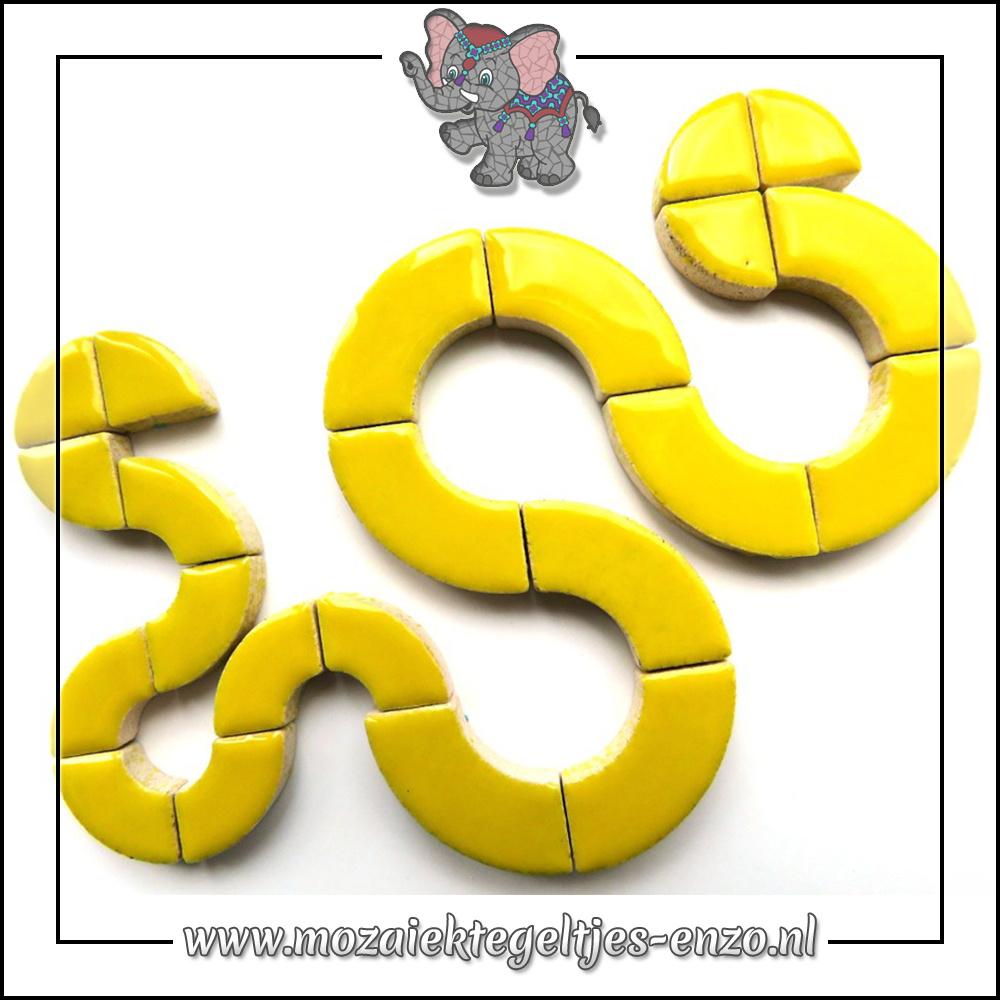 Keramiek Bullseyes Normaal | Mix van 3 vormen | Enkele Kleuren | 50 gram |Citrus Yellow