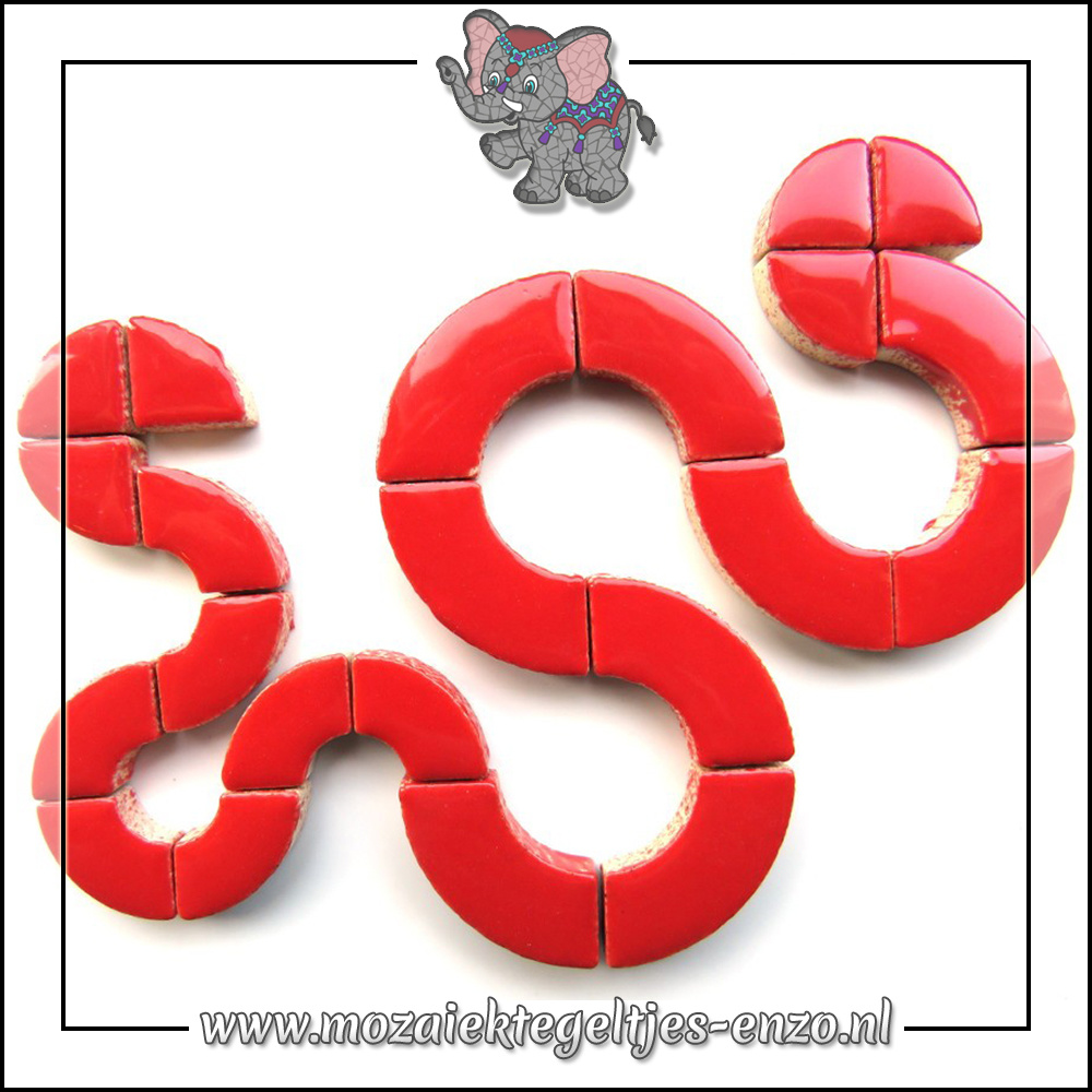 Keramiek Bullseyes Normaal   Mix van 3 vormen   Enkele Kleuren   50 gram  Poppy Red