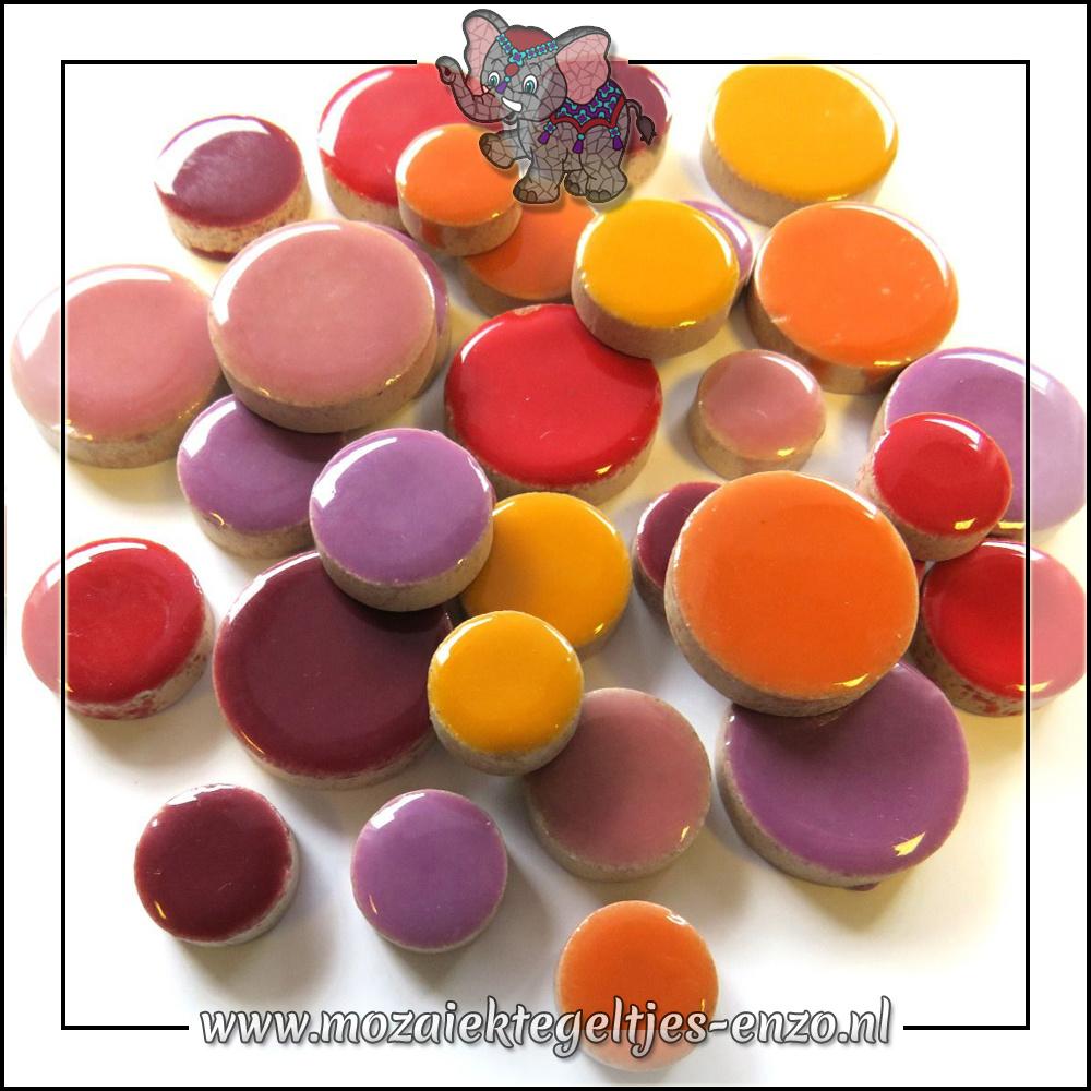 Keramiek Discs Normaal   12-15-20 mm   Gemixte Kleuren   50 gram  Flora