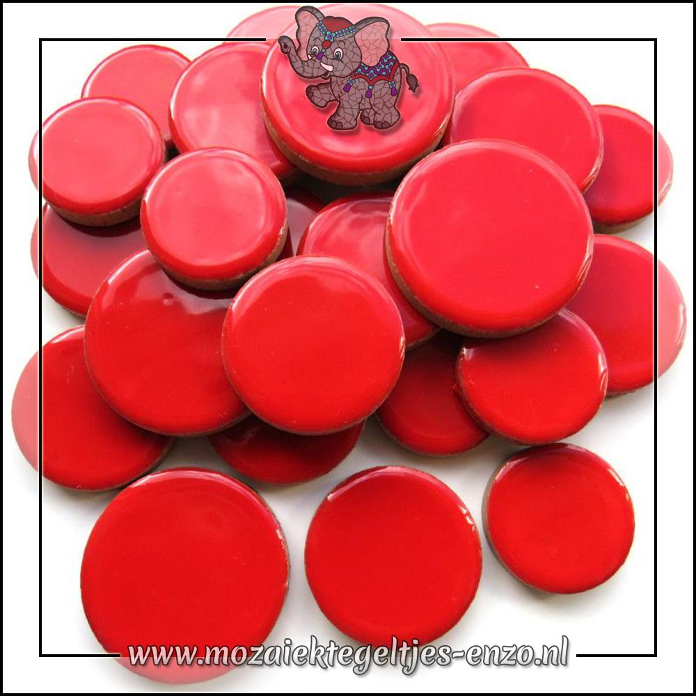Keramiek Discs XL Normaal | 25-30-35 mm | Enkele Kleuren | 50 gram |Poppy Red