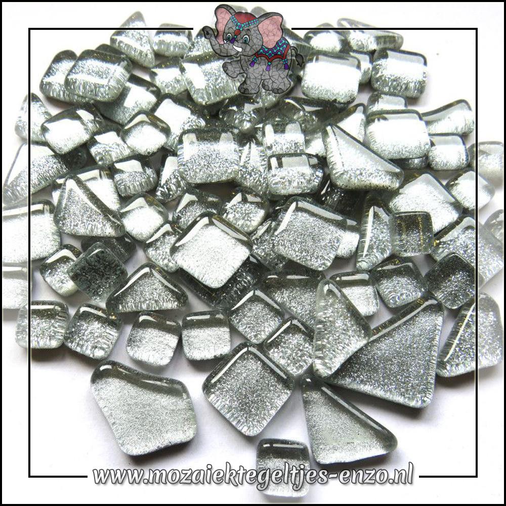 Soft Glas Puzzelstukjes Glitter | Gemixte Kleuren | 50 gram |Silver Bells