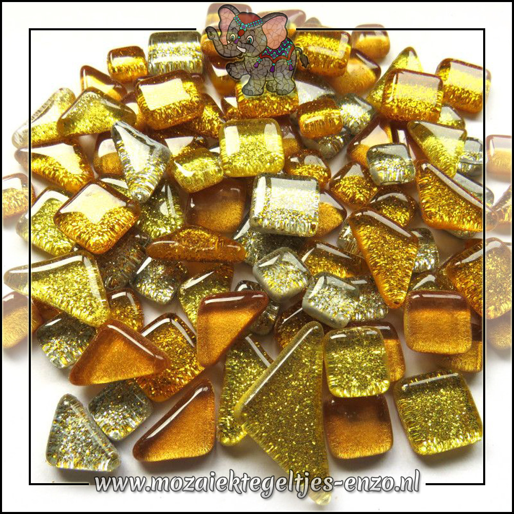 Soft Glas Puzzelstukjes Glitter | Gemixte Kleuren | 50 gram |Gold Dust