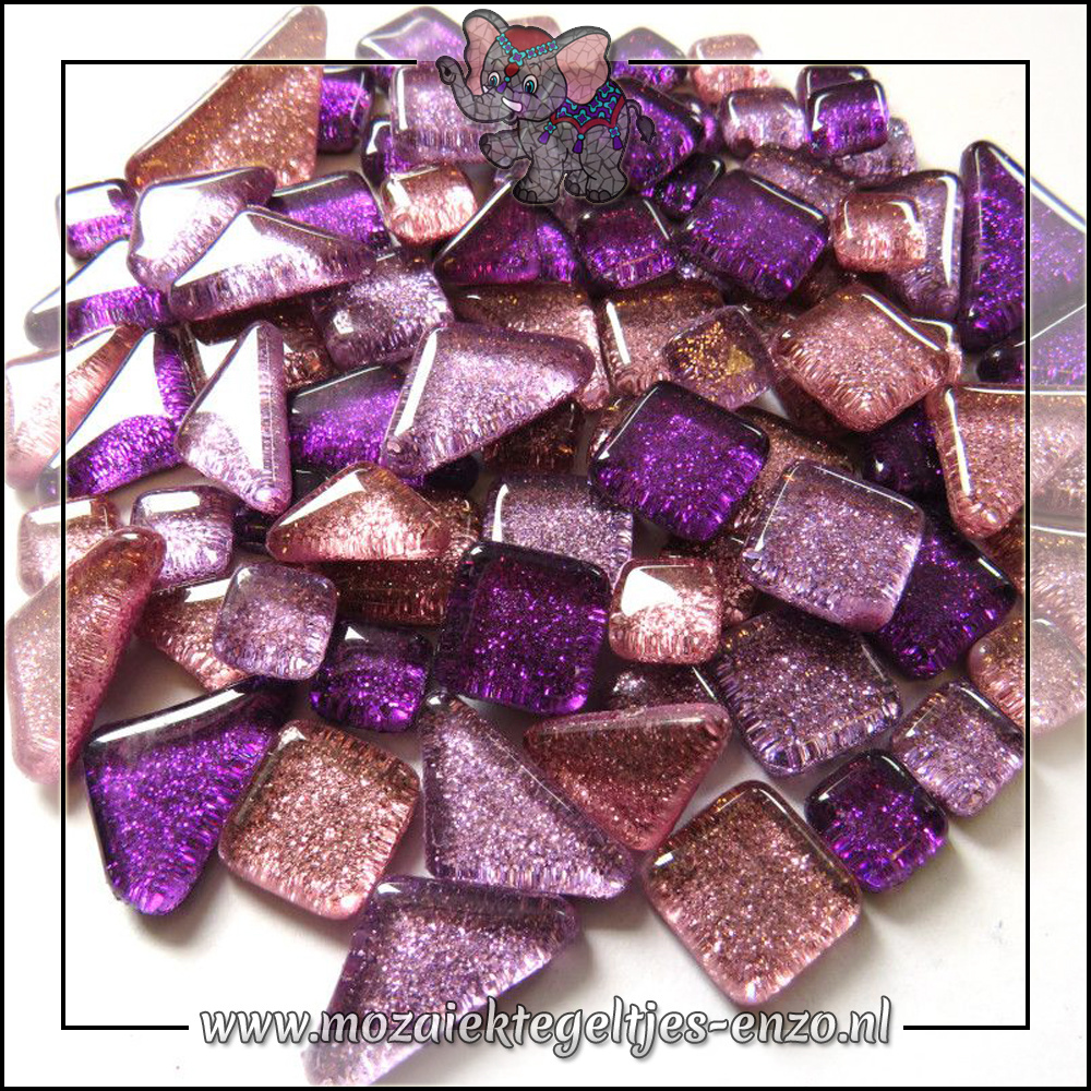 Soft Glas Puzzelstukjes Glitter | Gemixte Kleuren | 50 gram |Pom Pom Purple