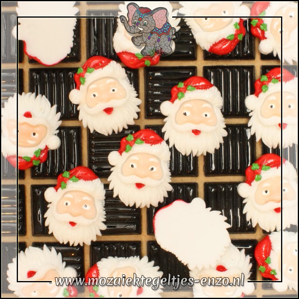 Cabochon plaksteen | Platte onderkant | 1 stuks | Kerstman hoofd