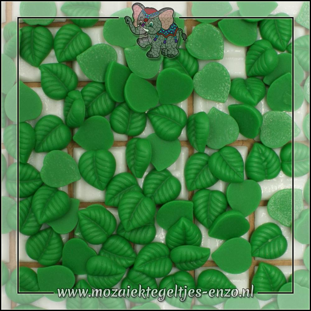 Cabochon plaksteen   Platte onderkant   1 stuks   Blaadje donker groen 1