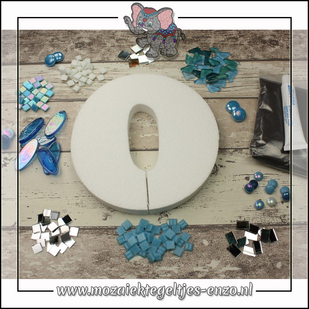Mozaiek pakket | Geen gereedschap nodig | Huiscijfer 0 - Blauw
