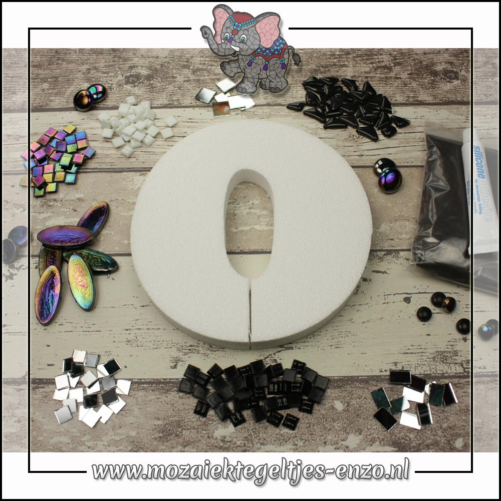 Mozaiek pakket | Geen gereedschap nodig | Huiscijfer 0 - Zwart