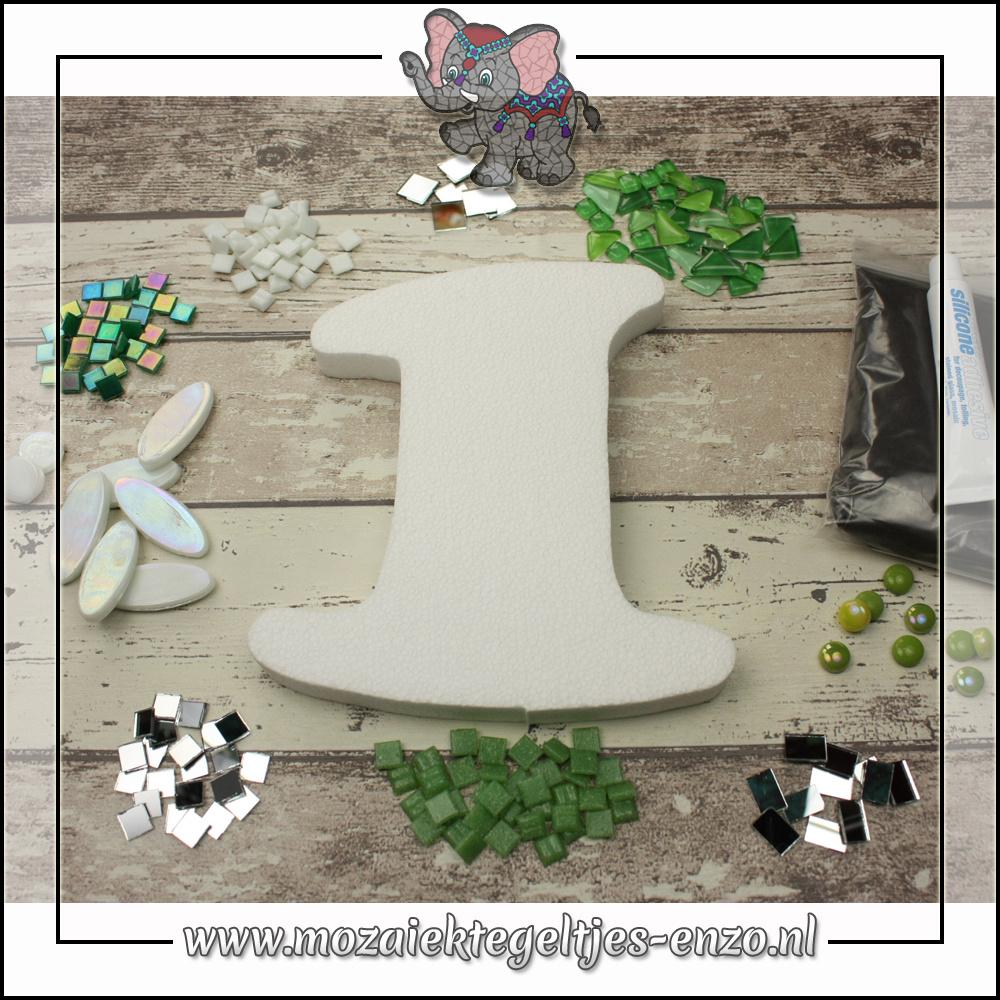 Mozaiek pakket | Geen gereedschap nodig | Huiscijfer 1 - Groen