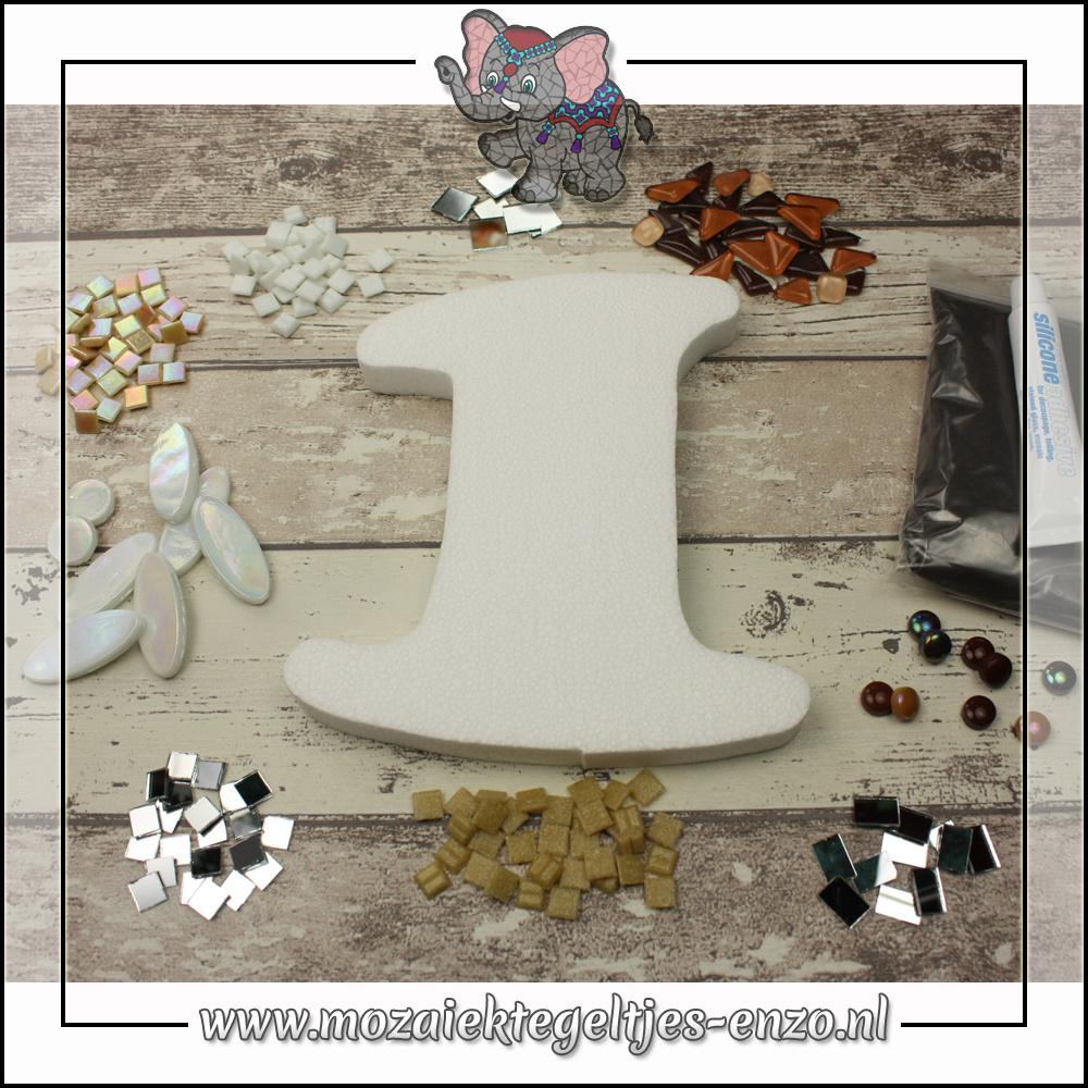 Mozaiek pakket | Geen gereedschap nodig | Huiscijfer 1 - Bruin