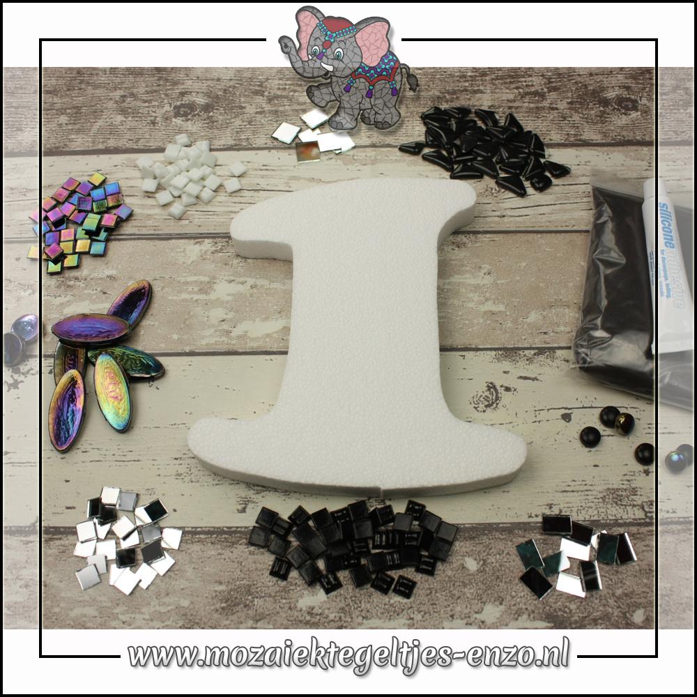 Mozaiek pakket | Geen gereedschap nodig | Huiscijfer 1 - Zwart