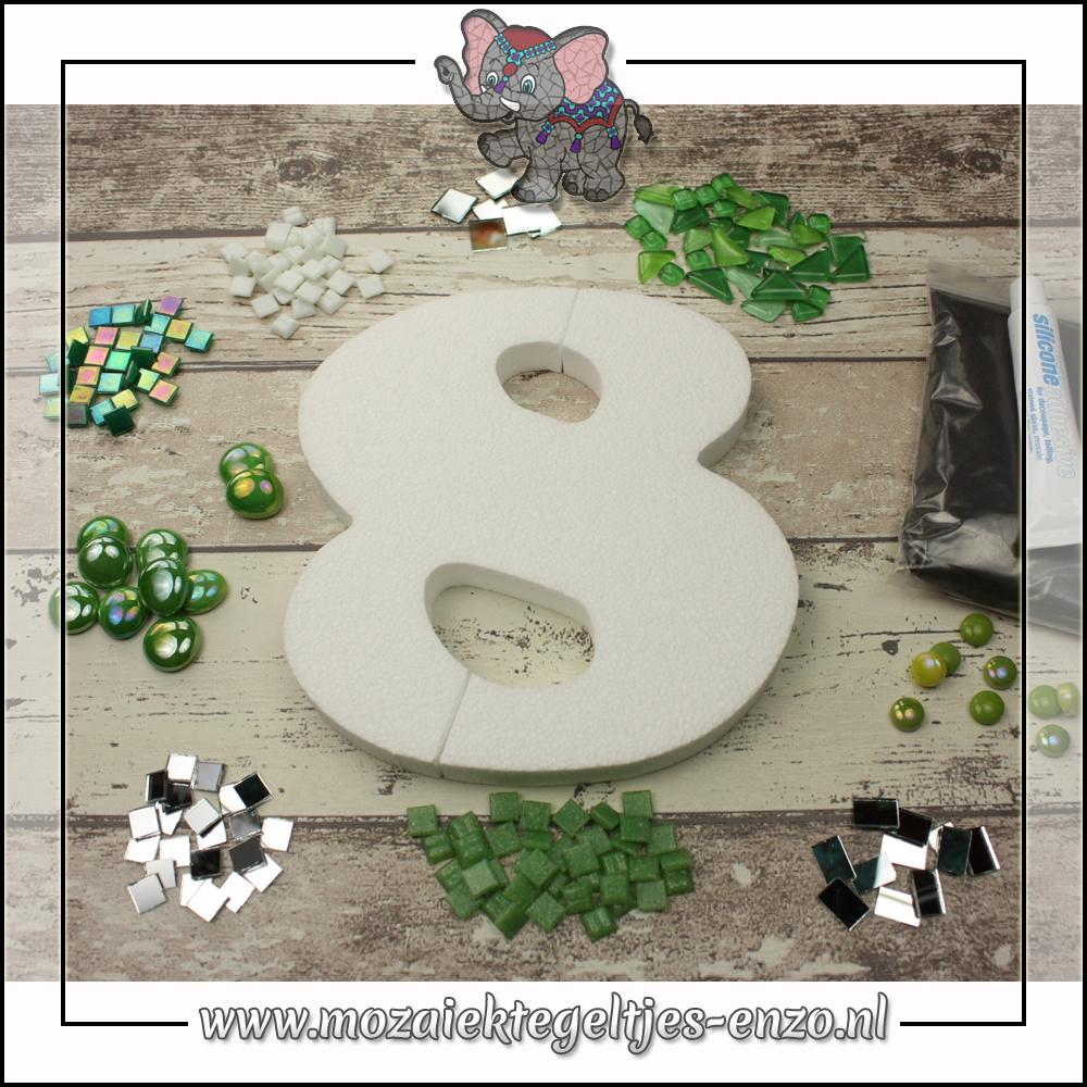 Mozaiek pakket | Geen gereedschap nodig | Huiscijfer 8 - Groen