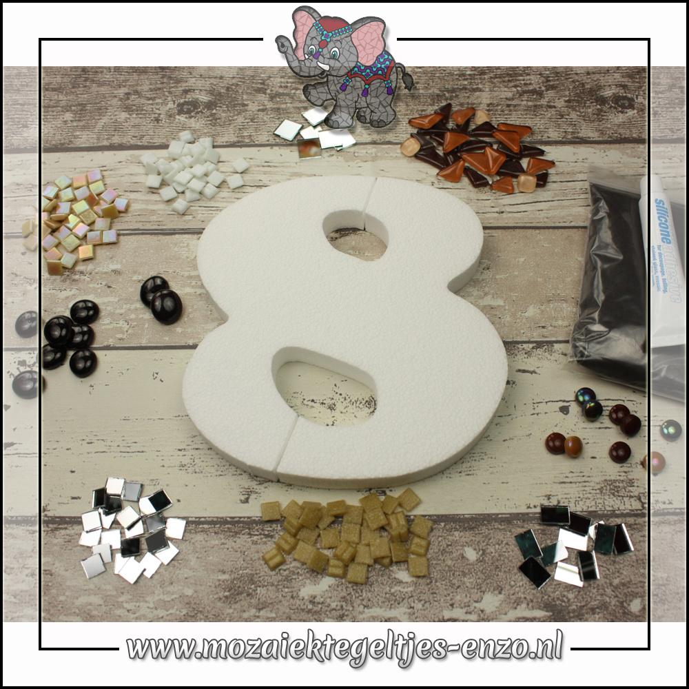 Mozaiek pakket | Geen gereedschap nodig | Huiscijfer 8 - Bruin