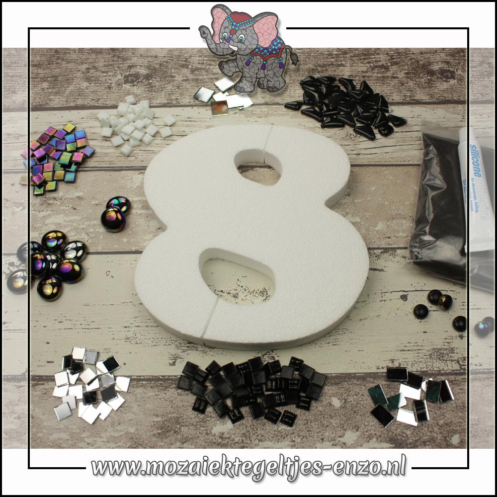 Mozaiek pakket | Geen gereedschap nodig | Huiscijfer 8 - Zwart