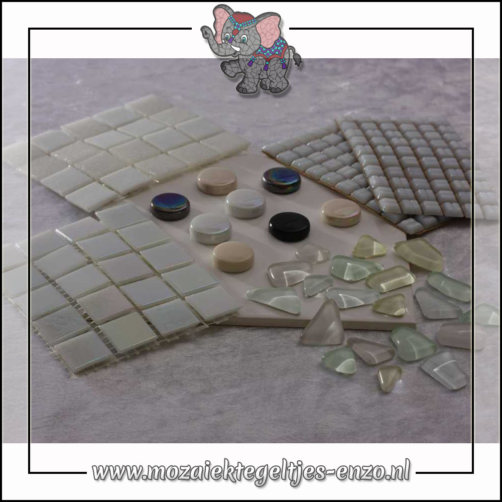 Mozaiek pakket   Gereedschap nodig   Kleurpakket Parelmoer - Wit