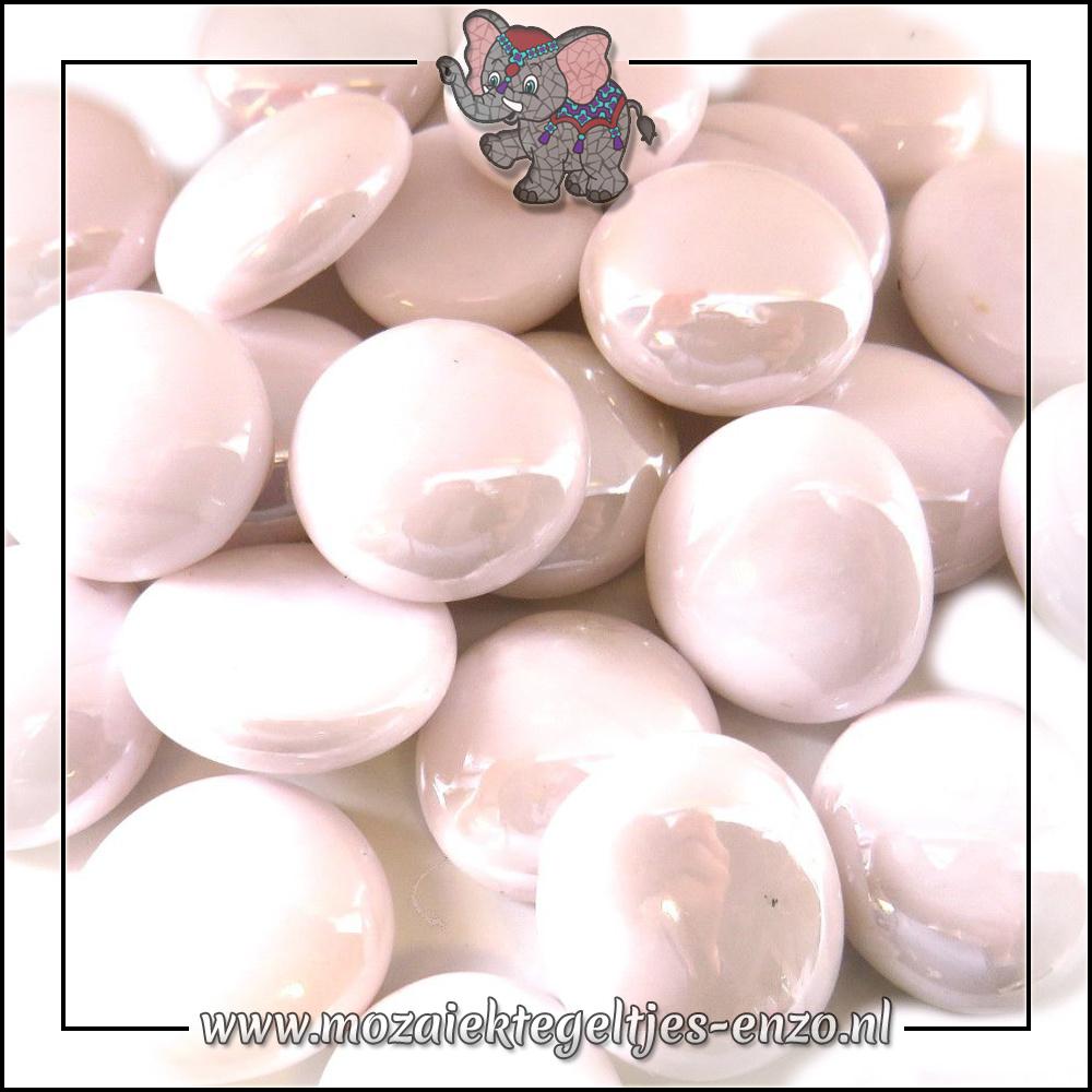 Glas Nuggets Parelmoer | 16-20mm | Enkele Kleuren | 10 stuks |Pastel Pink Opalescent