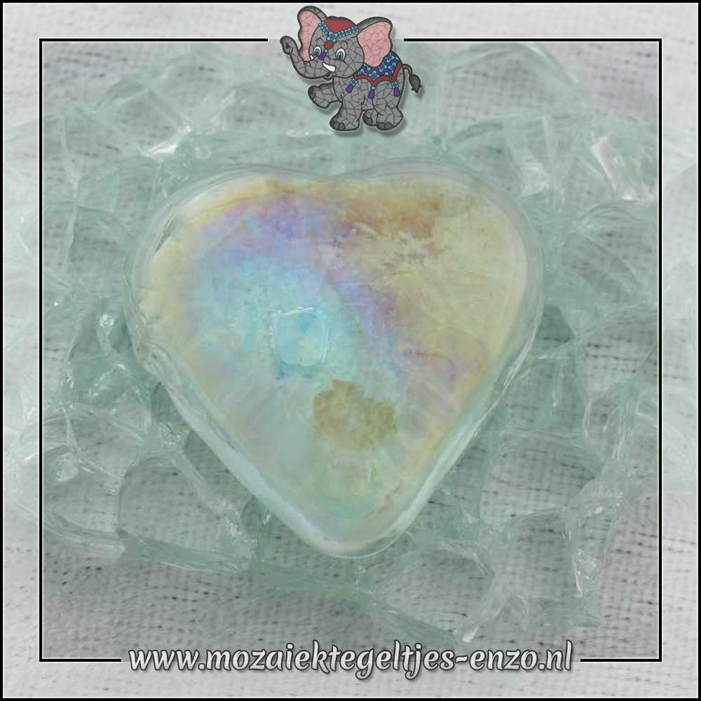 Glas Nuggets Parelmoer | 13-18mm | Enkele Kleuren | 4 stuks |Hart Transparent