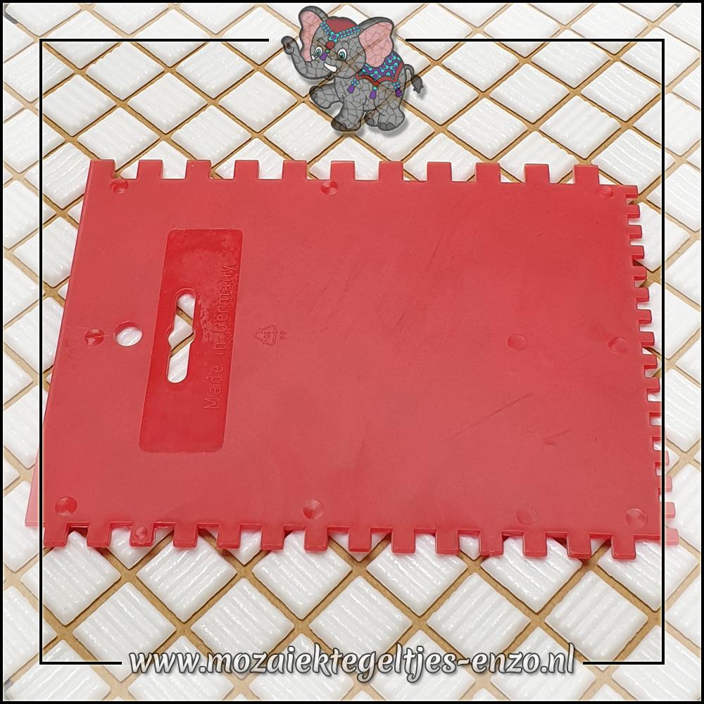 Mozaiek gereedschap   Kunststof Rood   3 zijdig getand   180x140mm   Lijmkam   Kitstrijker