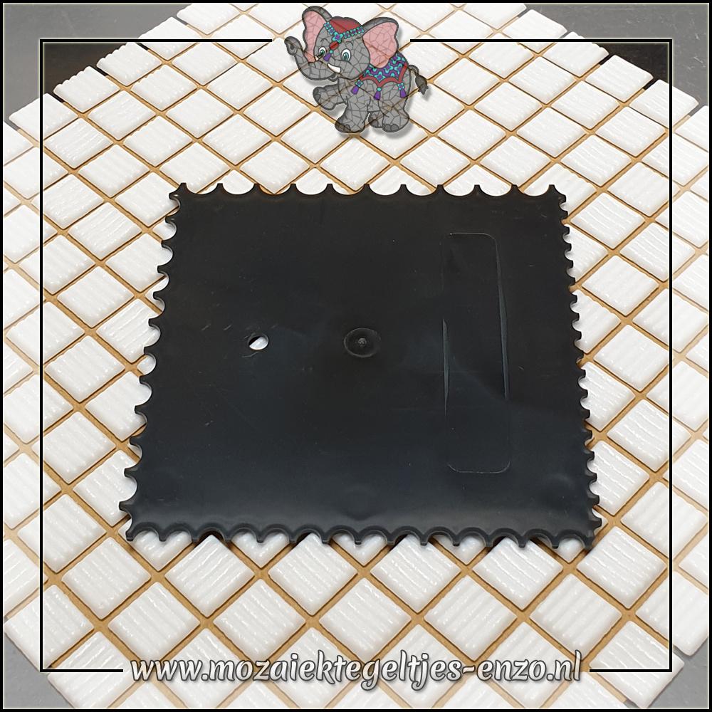 Mozaiek gereedschap   Kunststof Zwart   4 zijdig getand   150x150mm   Lijmkam   Kitstrijker