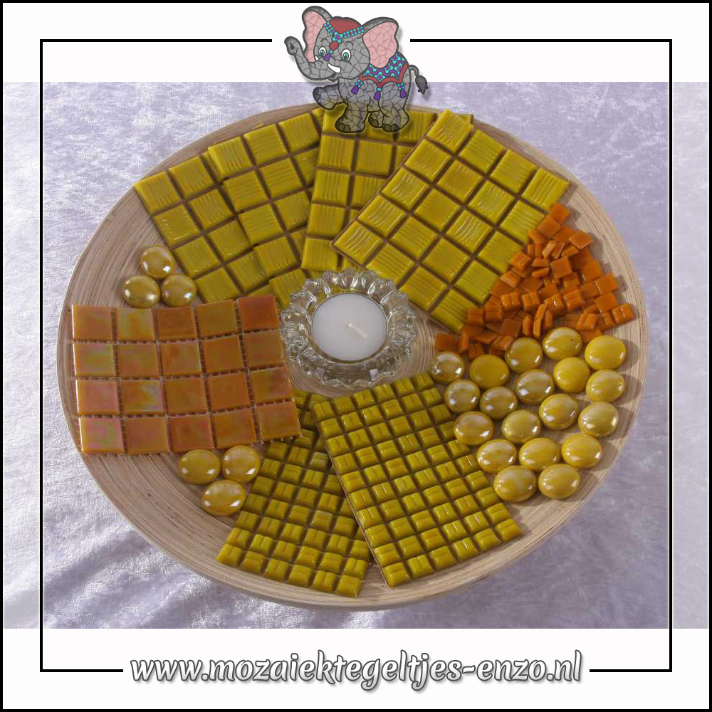 Mozaiek pakket | Geen gereedschap nodig | Bamboeschaal - Geel