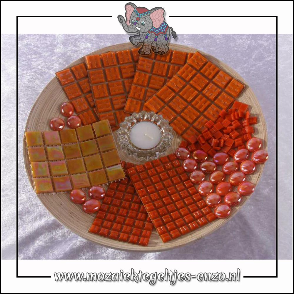 Mozaiek pakket | Geen gereedschap nodig | Bamboeschaal - Oranje