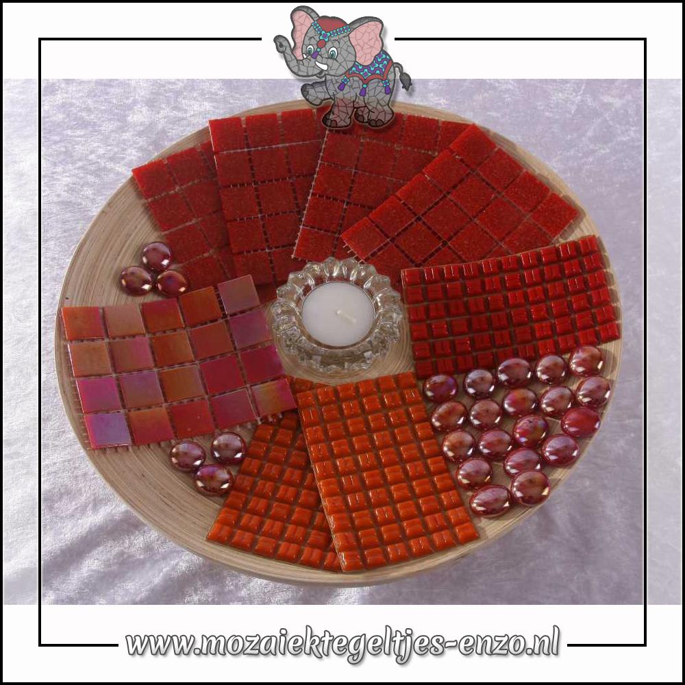 Mozaiek pakket | Geen gereedschap nodig | Bamboeschaal - Rood