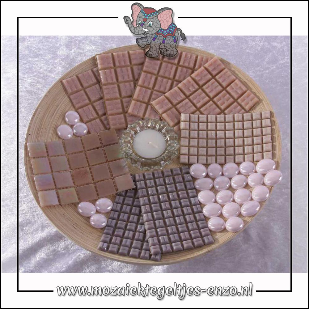 Mozaiek pakket | Geen gereedschap nodig | Bamboeschaal - Roze