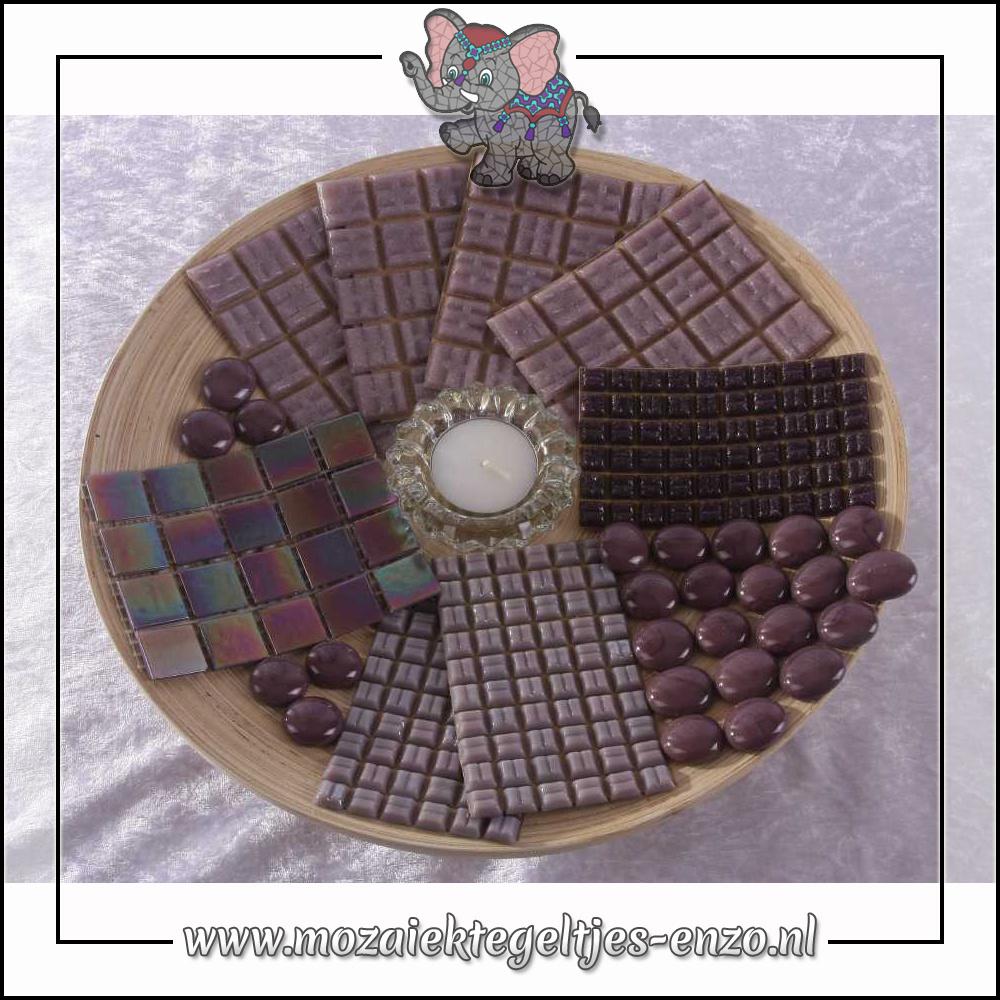 Mozaiek pakket | Geen gereedschap nodig | Bamboeschaal - Paars