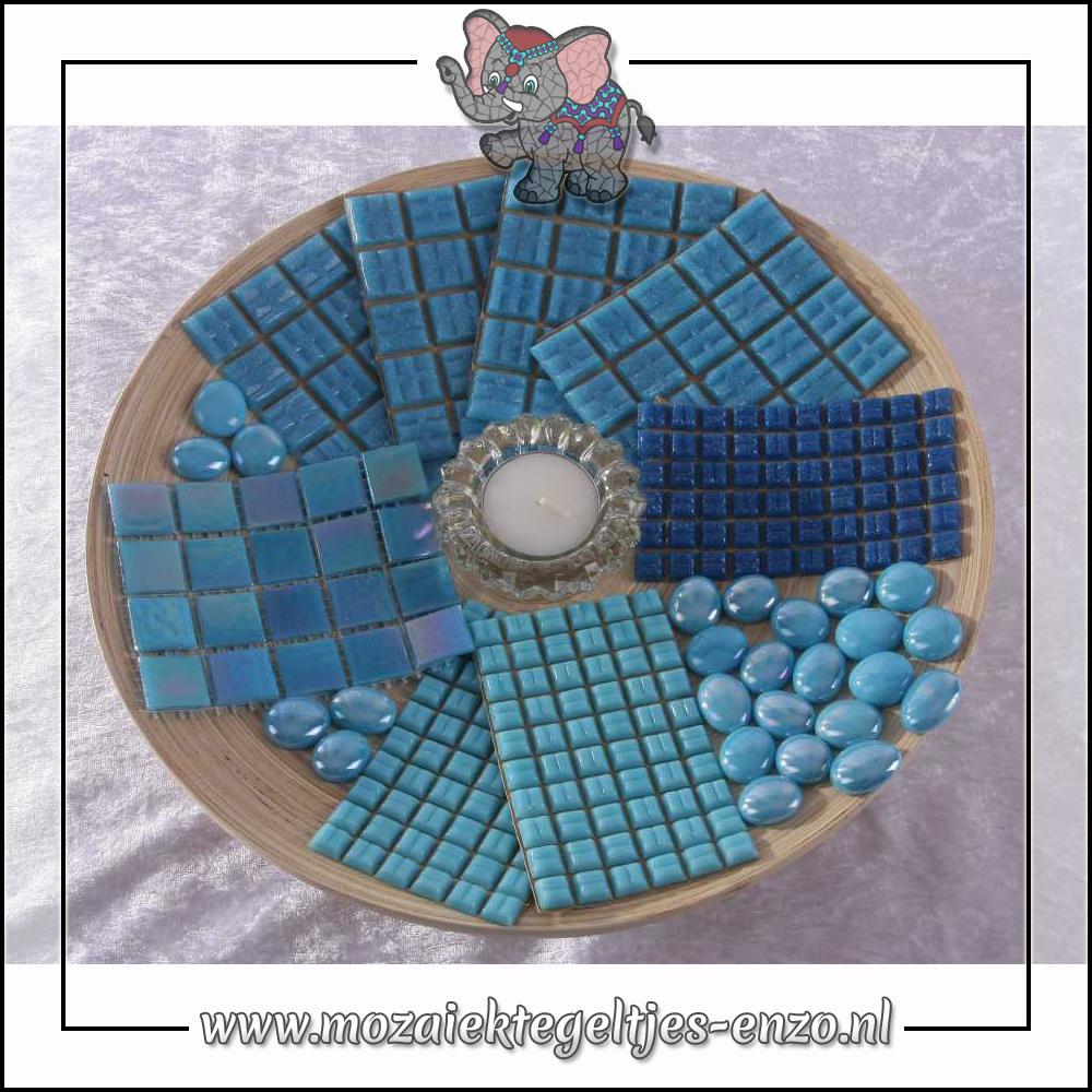 Mozaiek pakket | Geen gereedschap nodig | Bamboeschaal - Blauw
