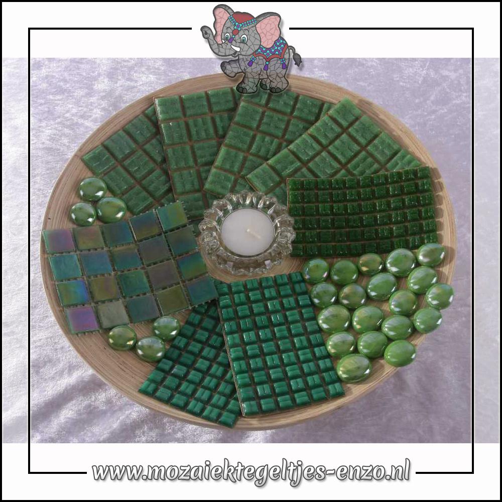 Mozaiek pakket | Geen gereedschap nodig | Bamboeschaal - Groen