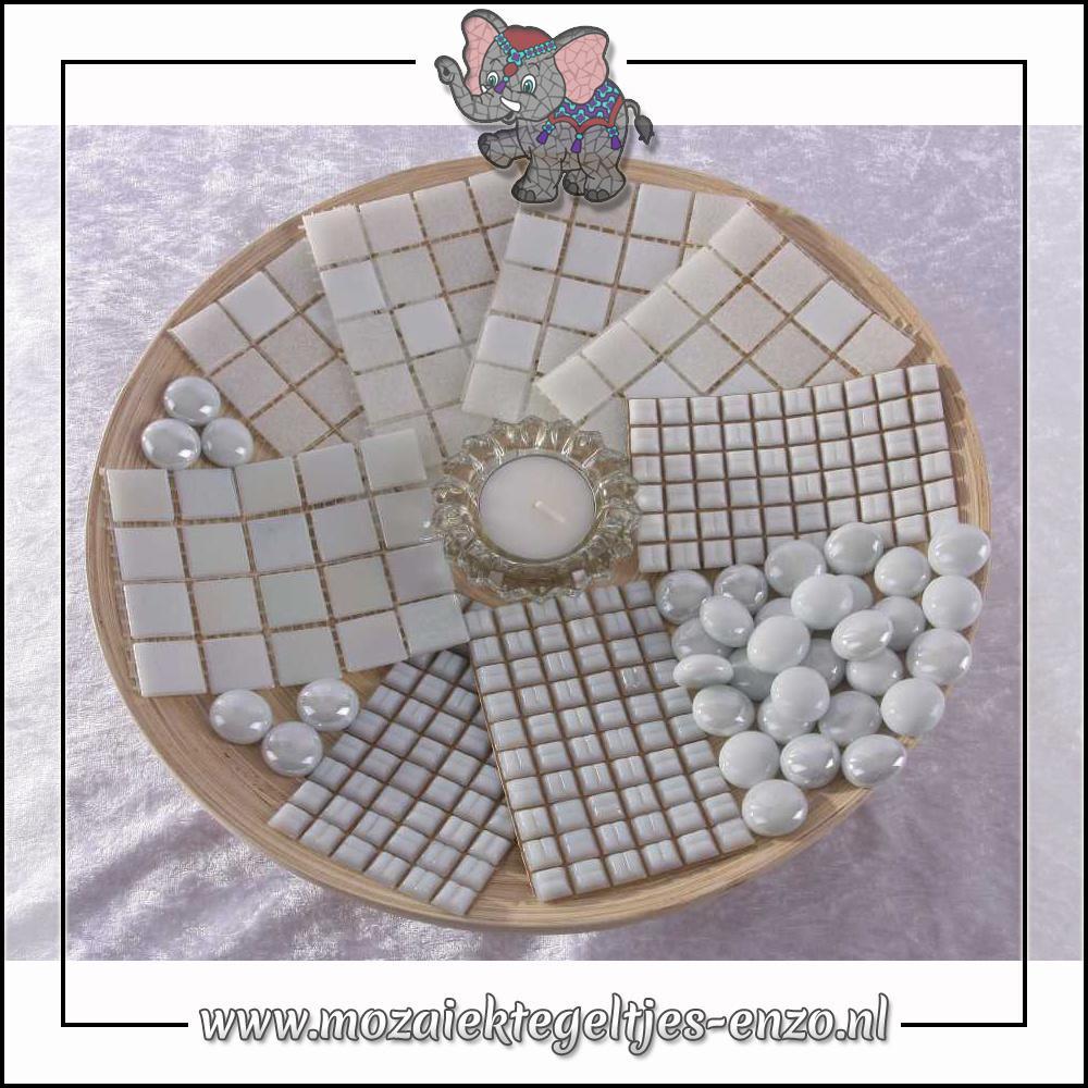 Mozaiek pakket | Geen gereedschap nodig | Bamboeschaal - Wit