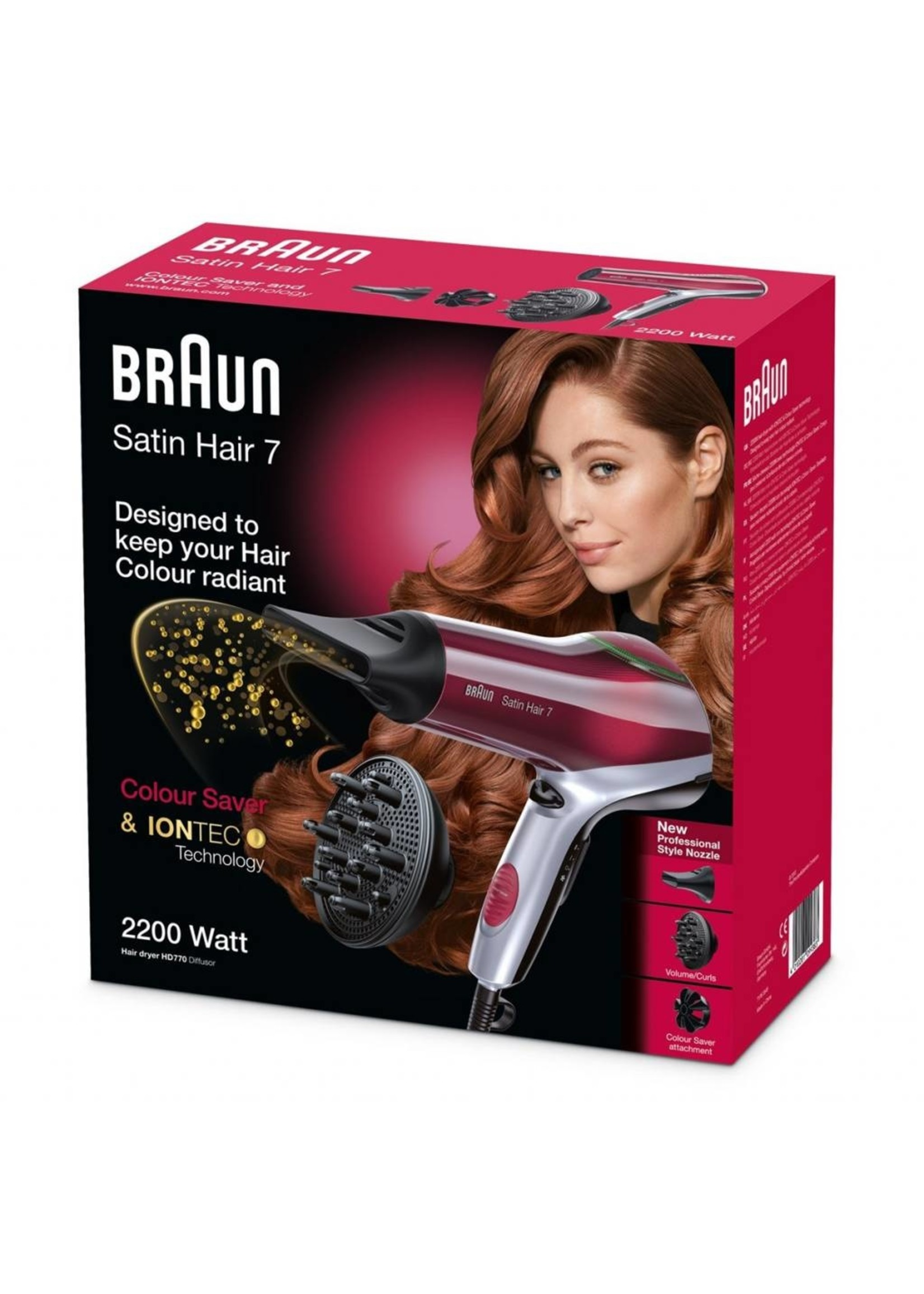 Braun Braun HD 770 Föhn Zwart, Rood
