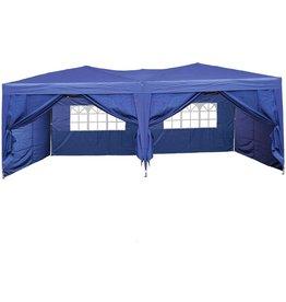 Garden Royal Partytent 3x6m Easy up - 6 zijwanden - blauw koopjeshoek
