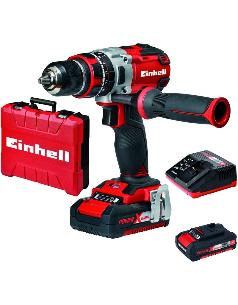 Einhell Einhell TE-CD 18 Li-i BL KIT Accu Klopboor-/Schroefmachine Power-X-Change - Koolborstelloos - 18 V / 2000 mAh / Li-Ion - Max. koppel: 60 Nm - Inclusief koffer - Inclusief 2x accu
