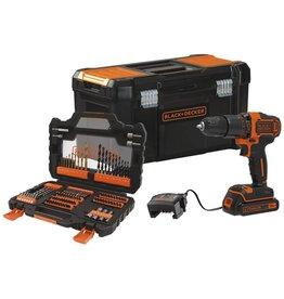 Black & Decker Black&Decker Accuklopboorschroefmachine BDCHD18S1KA 18V 2-traps incl. 1,5 Ah accu & 104-delige accessoireset