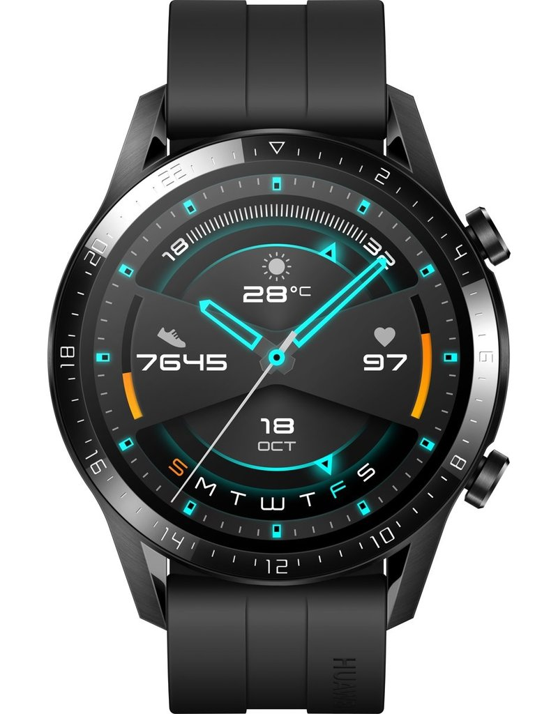 Huawei Watch GT 2- Zwart - Fluoroelastomer band
