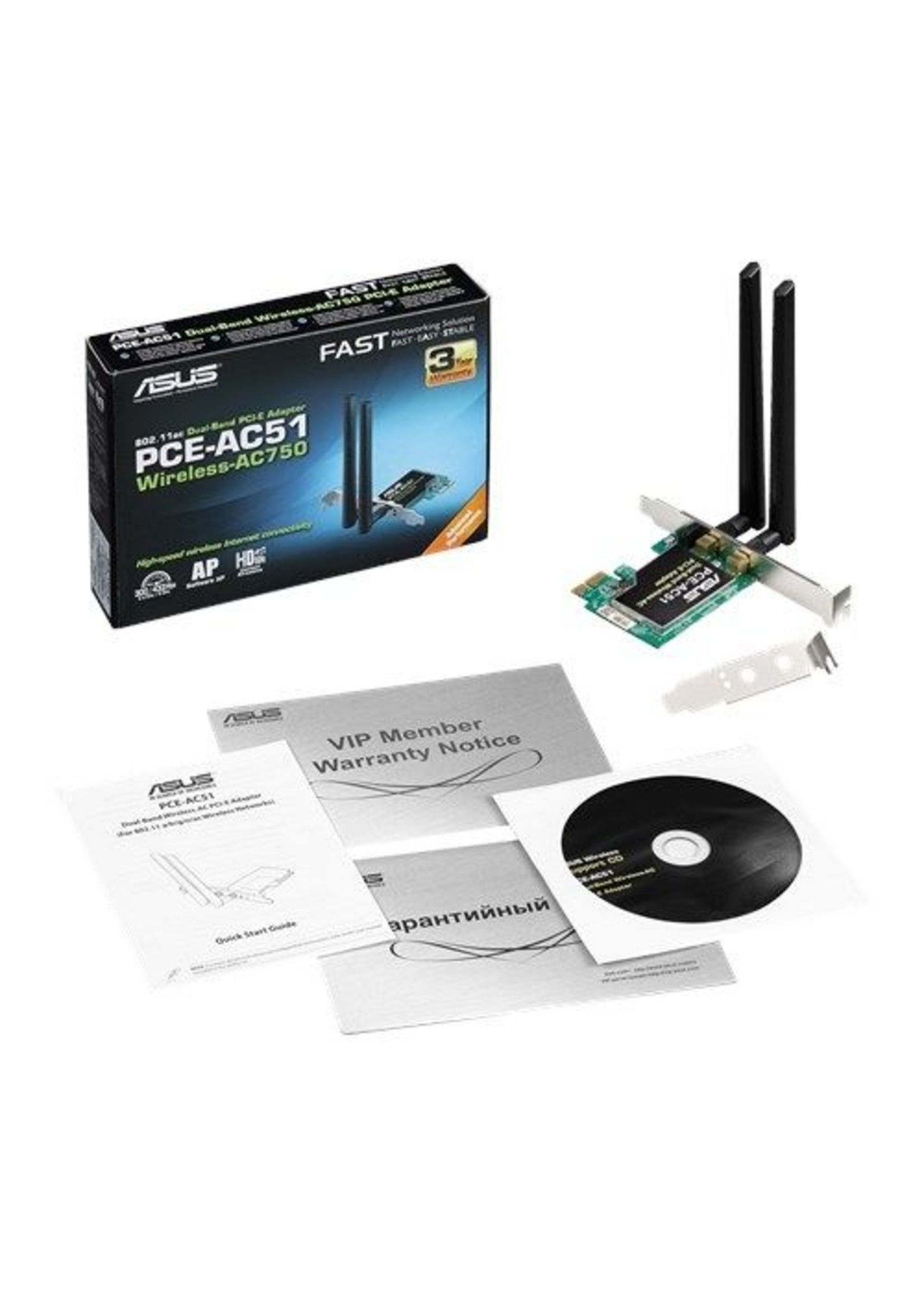 Asus ASUS PCE-AC51 Wireless-AC750 Dual-band PCI-E Adapter