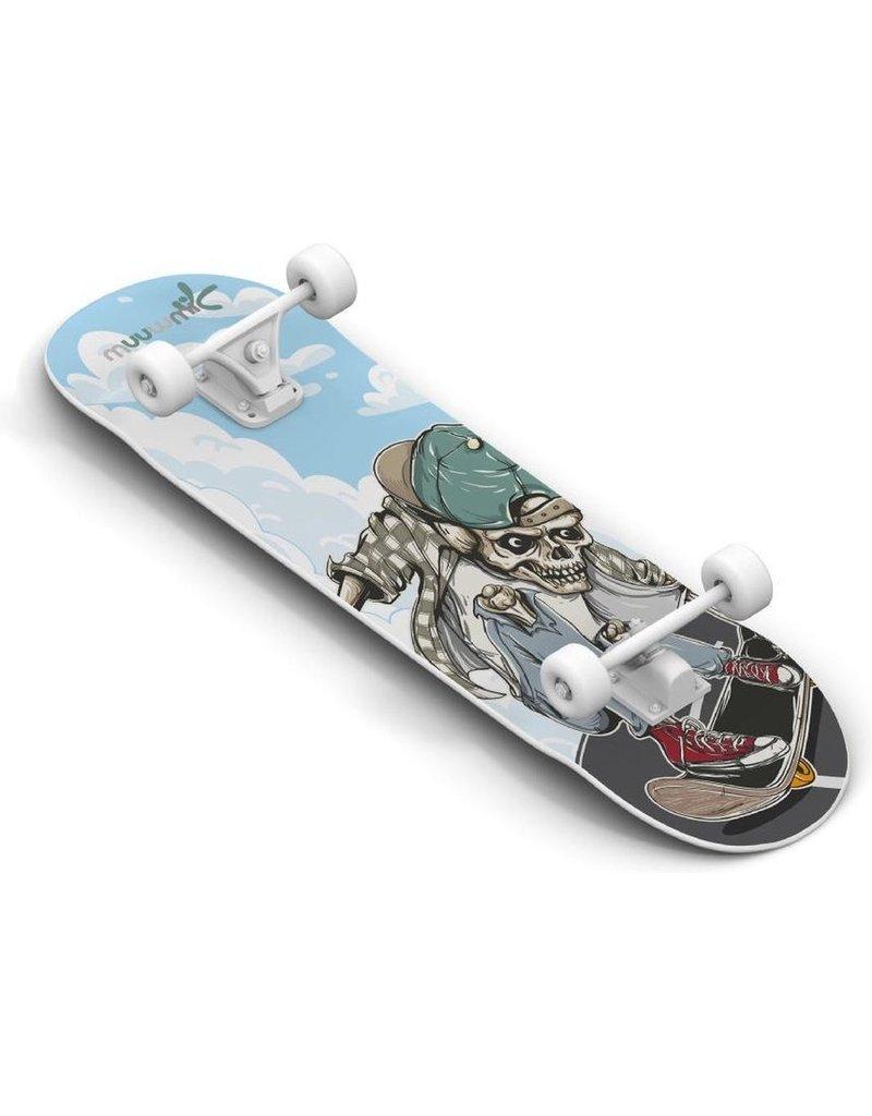 Muuwmi Muuwmi Skateboard Skull 20 X 79 Cm Hout Blauw/zwart