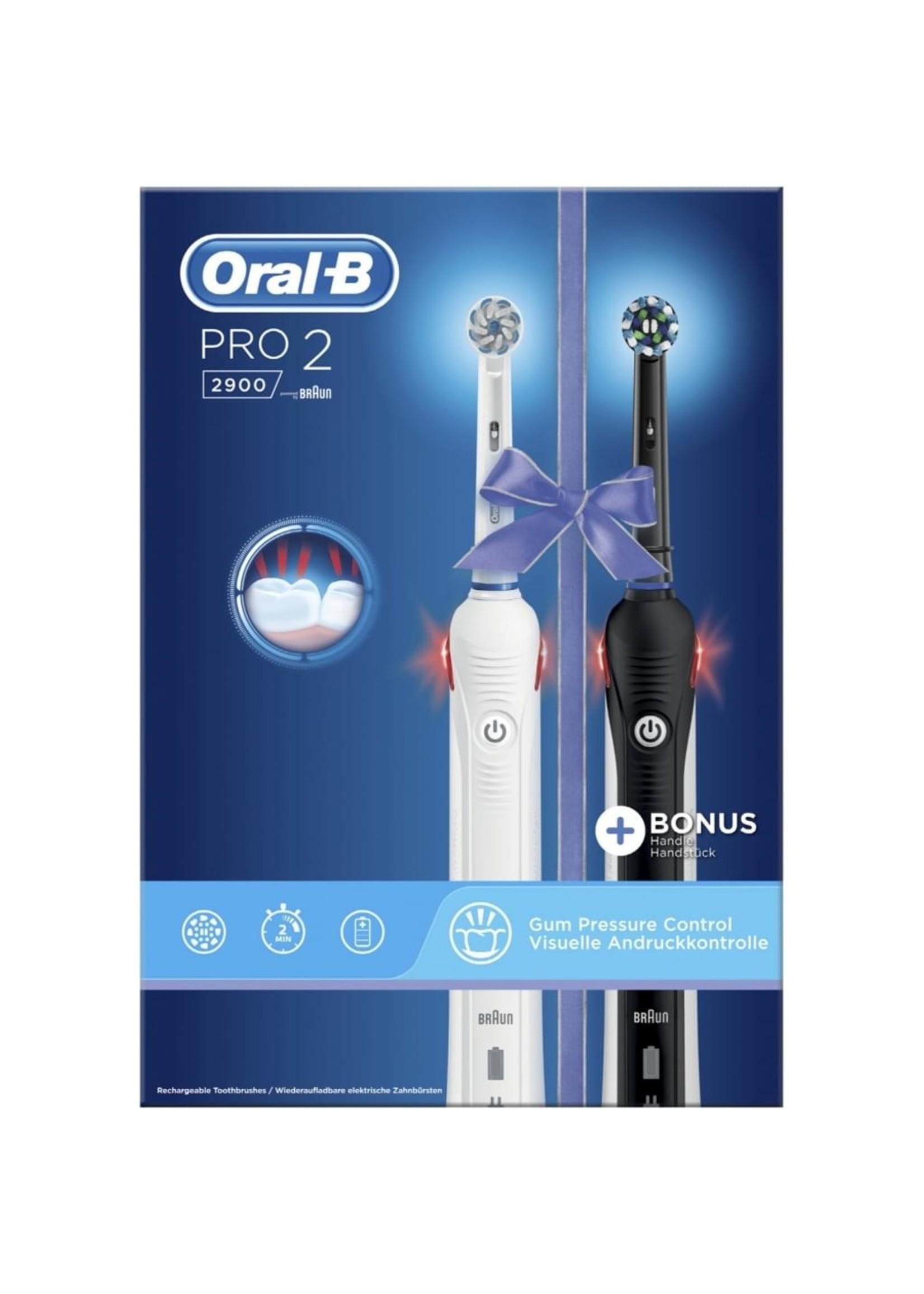 Oral-B Oral-B Pro 2 2900 - Elektrische Tandenborstel - 2 stuks - Wit, zwart