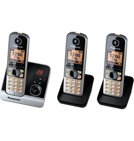 Panasonic Panasonic KX-TG6723 GB - Trio DECT telefoon - Antwoordapparaat - Zwart - koopjeshoek