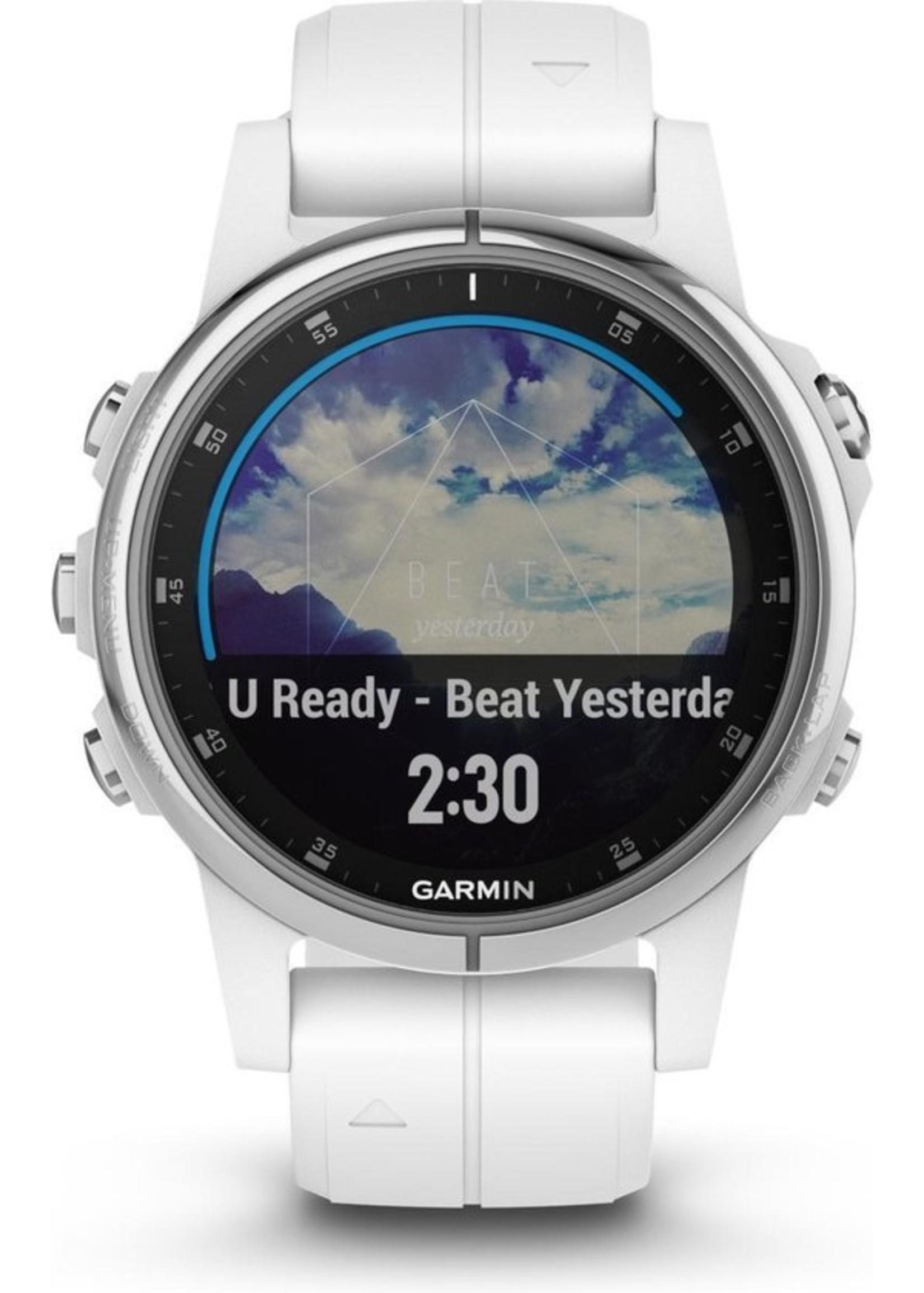 Garmin Garmin fenix 5S Plus Saffier - GPS activity tracker - 42 mm - wit / witte siliconenband