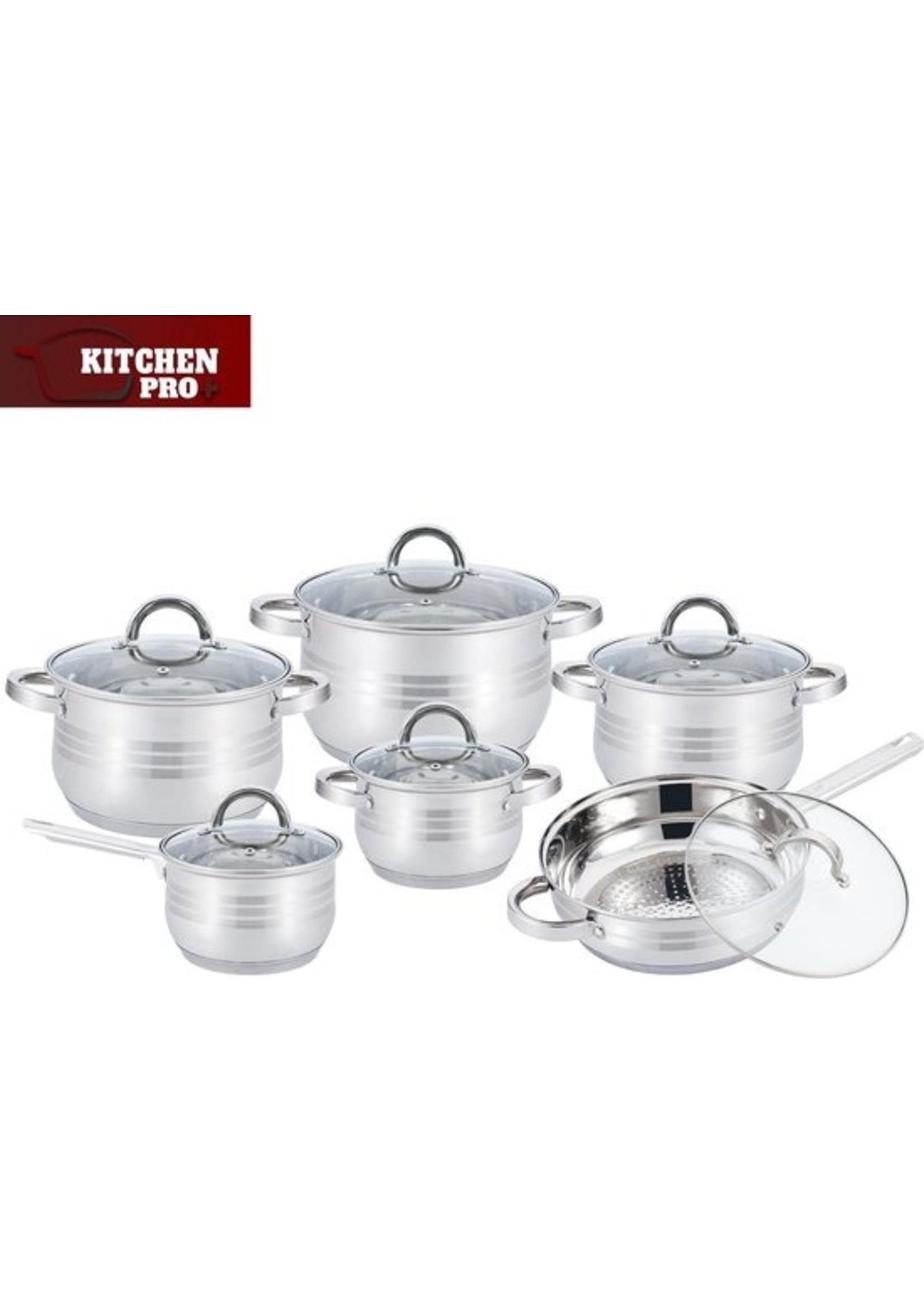 Kitchen Pro 12-Delige Kitchen Pro Plus KP-1251 RVS Pannenset