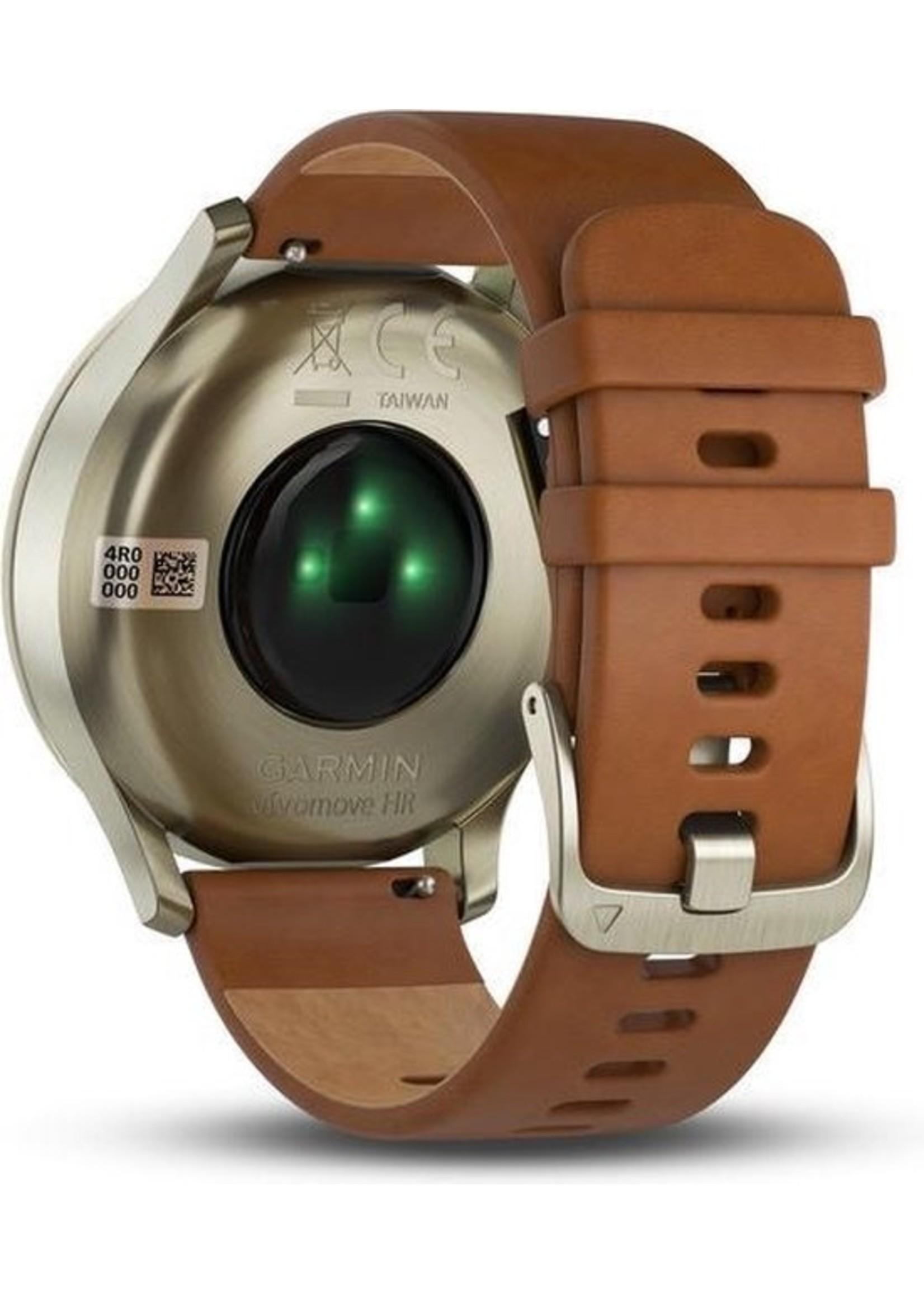 Garmin Garmin Vivomove HR Premium Hybrid Smartwatch - 43 mm - Bruin koopjeshoek